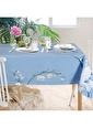 The Mia Leylek Masa Örtüsü - 150 x 150 Cm - Açık Mavi Mavi